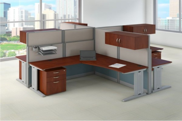 Bundle includes: (4) L Shaped Desks and Cubicle Workstations, (4) 3 Drawer Mobile File Cabinets, (4) Storage Cabinets with Adjustable Paper Trays and Pencil Cups 65W x 65D L Shaped Desks feature durable thermally fused laminate surfaces Turns open space into efficient collaborative work environments Sturdy metal-framed panels covered by stylish two-tone fabric Includes full-height 63H panels for privacy and short 48H panels for communication Designed for a quick, easy installation with all hardware and cubicle panels included Desktop grommets and removable panels on metal legs for cable management Adjustable levelers compensate for uneven floors Meets ANSI/BIFMA quality test standards for performance and safety Commercial quality backed by 10 Year Manufacturer's Warranty