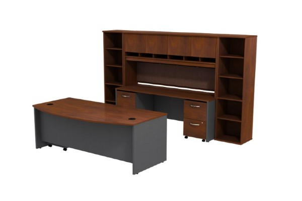 Bundle Includes: 72W Bowfront Desk, 72W Credenza Shell, 72W 4-Door Hutch, 2-Drawer Mobile Pedestal, 3-Drawer Mobile Pedestal, and (2) 18W 5-Shelf Bookcases Attractive Hansen Cherry finish with Graphite Gray accent 1