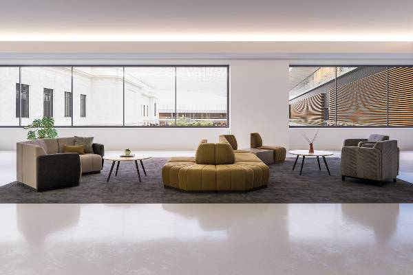 The Swift collection of lounge furniture offers a multitude of shapes to accommodate straight or serpentine solutions. The lounge seating and tables can be combined for endless configurations in grand or modest spaces.