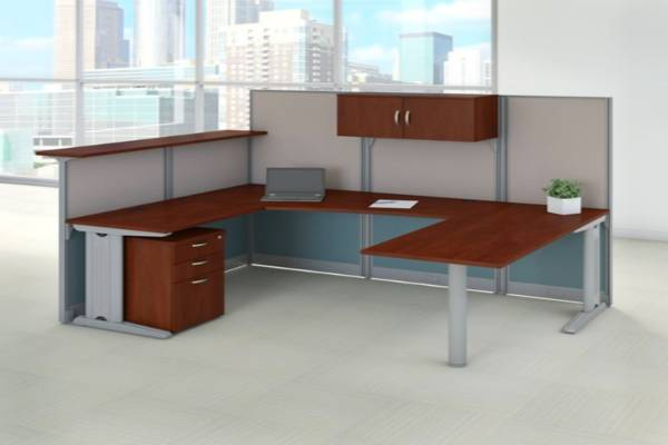 Bundle includes: U Shaped Desk and Cubicle Workstation, Reception Gallery Shelf, 3 Drawer Mobile File Cabinet, Storage Cabinet with Adjustable Paper Tray and Pencil Cup 89W x 65D U Shaped Desk features durable thermally fused laminate surface Turns open space into efficient work environment Sturdy metal-framed panels covered by stylish two-tone fabric Includes full-height 63H panels for privacy and short 48H panels for communication Shelf mounts to short panels for a comfortable space for guests to stand Designed for a quick, easy installation with all hardware and cubicle panels included Desktop grommets and removable panels on metal legs for cable management Meets ANSI/BIFMA quality test standards for performance and safety Commercial quality backed by 10 Year Manufacturer's Warranty