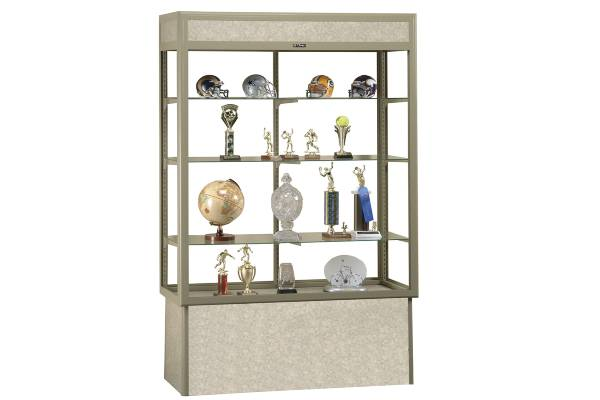 "Contemporary radius face design features large, unobstructed view. Base is 18"" high. 3/16"" tempered sliding glass doors with lock and three adjustable glass shelves. Concealed lighting"