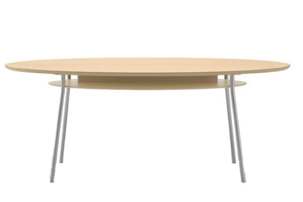 Crisp, contemporary styling with high pressure laminate table tops available in 6 finishes. Unique reverse bevel edge detail and powder coated steel legs for strength and durability.
