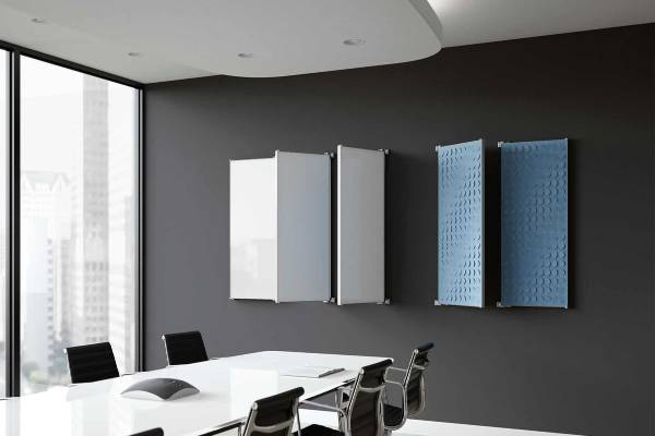 Create a striking and equally useful art piece that captivates your space. Flip is a hybrid glassboard and acoustic panel installation that transforms with your minute-by-minute needs.