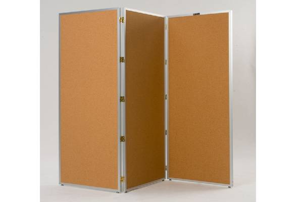 Screens are lightweight, yet durable; an economical, effortless way of providing privacy. Tan Nucork panels have aluminum frame with double action hinges. Nucork panels can be used as they are, painted, papered, or covered with fabric by owner. Fold nearly flat for storage