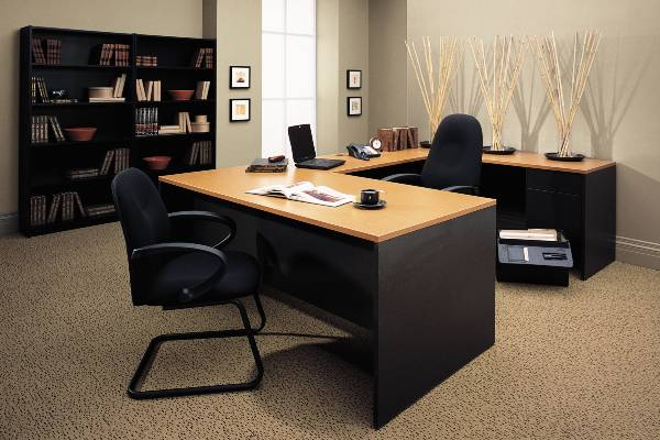 Halton's classic styling coordinates with any office decor and easily integrates with Global products. Worksurfaces feature 3mm PVC edging in matching wood grain or solid color on all sides. Bow top desks provide extra visitor leg room while increasing worksurface area. All desks, returns and credenzas offer 3/4 or full to floor pedestals. All pedestal drawer fronts are edged on all four sides for a smooth, clean finish. Choose from 20 solid, abstract and wood grain laminate finishes.