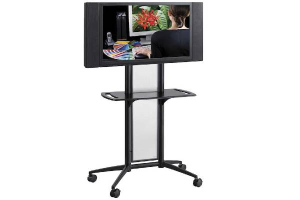 Flat Panel TV cart. Steel frame and translucent polycarbonate panel. Holds monitors up to 55