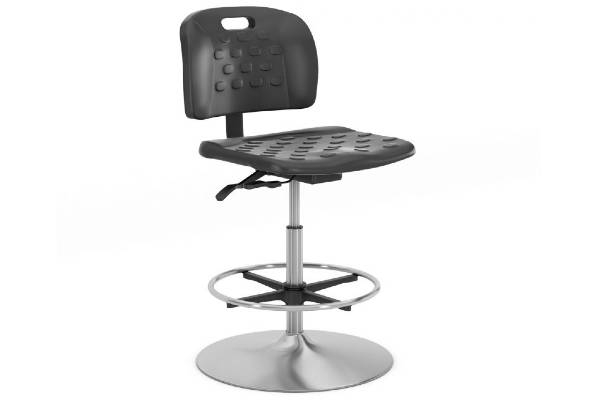 Indy: Durable, black injection molded polyurethane seat and back. For use in high traffic areas. Also available in matching stool and stackable configurations, for users up to 300 lbs.