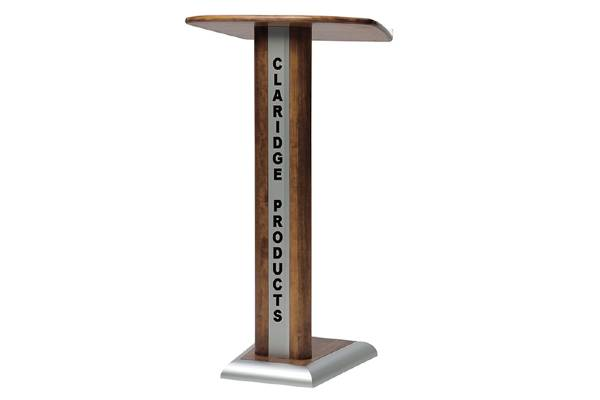 "A combination of wood and satin anodize aluminum gives this lectern a distinctive look. 348 is 47"" (H), 24"" (W) and 16-3/4"" (D). Extra wide base for added stability. Casters furnished for easy mobility"