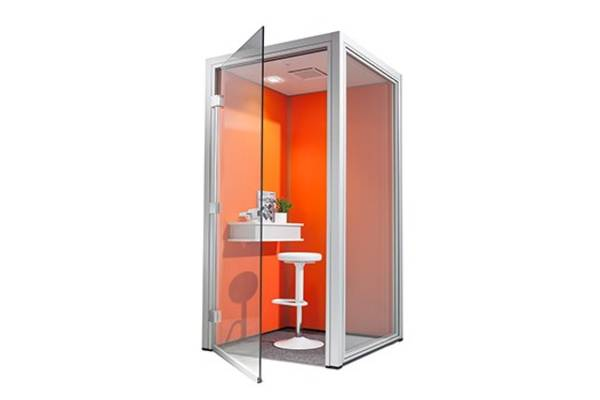 Dauphin Phone Cubes bring attractive free-standing enclosures to open offices where acoustic and visual privacy are required for individuals or groups.  These turnkey solutions are installed directly over an existing floor and come equipped with integrated ventilation and lighting, powered by a duplex plug & play system. Cubes can be installed in several hours, disassembled and moved to support an organization's evolving needs.  The panels can be finished in fabric, insulated safety glass, melamine and whiteboards, or customized with graphics to suit any interior. Panels can be resurfaced on site to reflect changes in programming or aesthetic needs.