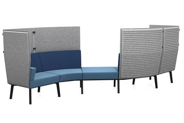 Inspired by the infinite variety of underwater worlds where no coral reef is like the other, Reefs system seating provides solutions for the open office environment by offering comfortable structures with visual and acoustic privacy.  The Reefs modular system adapts to the unique requirements of organizations, individuals and tasks and allows unlimited design options from configurations that foster engagement and collaborative teamwork to hideaways that provide a quiet place to focus.   Color and pattern options are as diverse as the coral reefs themselves with seating that can be upholstered in a wide range of fabrics and paired with legs of of light oak or black powder-coating. A power module can be incorporated to the underside of the seat to allow for quick recharges.