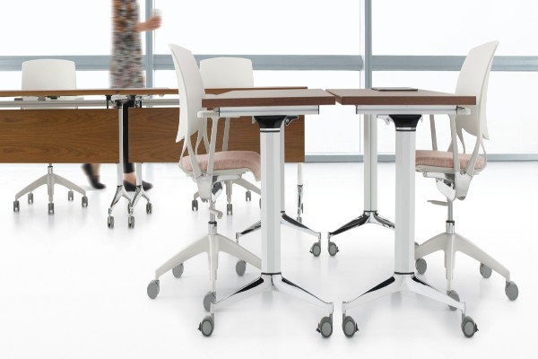 Terina™ is a multi-purpose table that allows you to quickly adapt your space to suit your needs. The simple flip-top mechanism is designed for single-handed operation. Tables nest in an upright position to minimize storage space.
