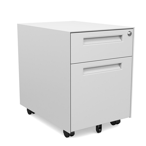 Two drawer (box/file) mobile pedestal, 5 wheels, recessed pulls. Option to add a cushion. Upholstery options include Symmetry's standard fabric offering.